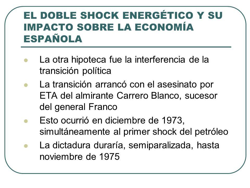 EL DOBLE SHOCK ENERGÉTICO Y SU IMPACTO SOBRE LA ECONOMÍA ESPAÑOLA La otra hipoteca fue la interferencia de la transición política La transición arranc