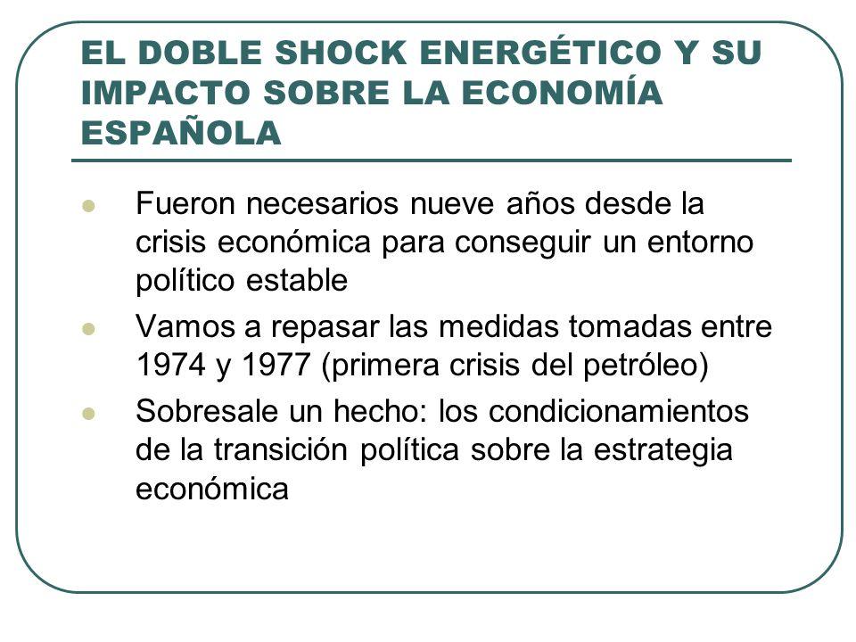 EL DOBLE SHOCK ENERGÉTICO Y SU IMPACTO SOBRE LA ECONOMÍA ESPAÑOLA Fueron necesarios nueve años desde la crisis económica para conseguir un entorno político estable Vamos a repasar las medidas tomadas entre 1974 y 1977 (primera crisis del petróleo) Sobresale un hecho: los condicionamientos de la transición política sobre la estrategia económica
