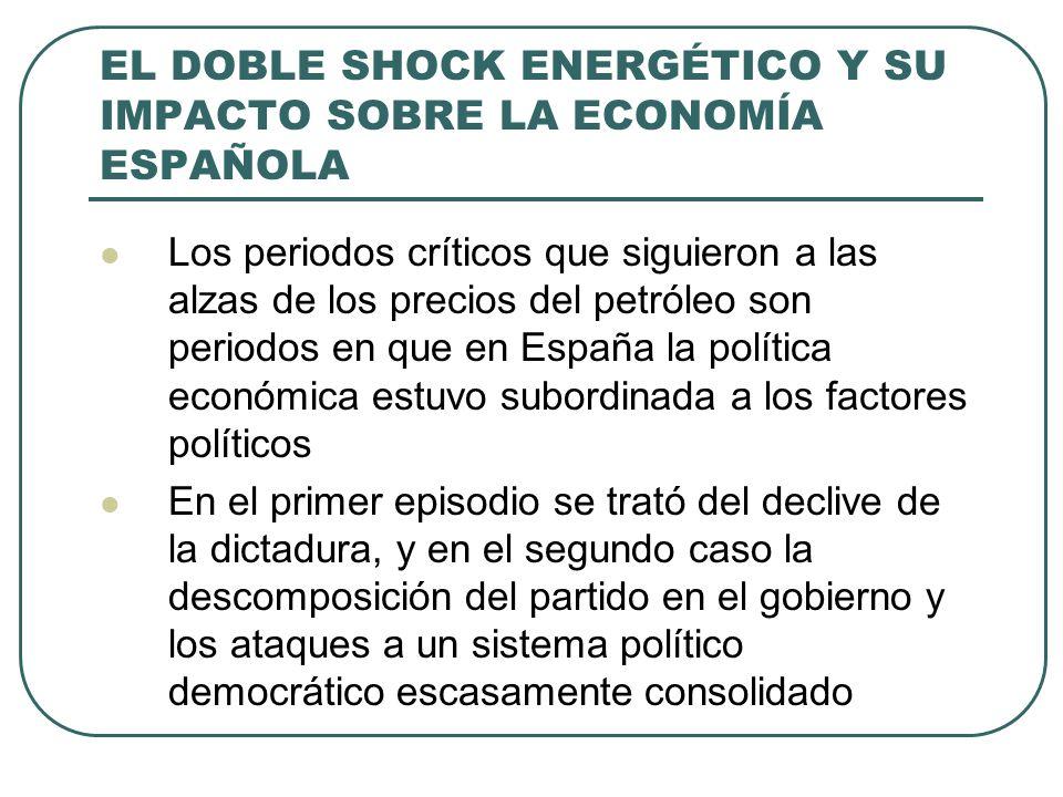 EL DOBLE SHOCK ENERGÉTICO Y SU IMPACTO SOBRE LA ECONOMÍA ESPAÑOLA Los periodos críticos que siguieron a las alzas de los precios del petróleo son periodos en que en España la política económica estuvo subordinada a los factores políticos En el primer episodio se trató del declive de la dictadura, y en el segundo caso la descomposición del partido en el gobierno y los ataques a un sistema político democrático escasamente consolidado