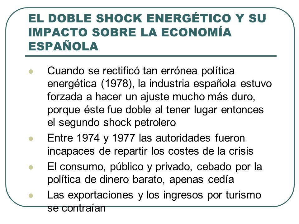 EL DOBLE SHOCK ENERGÉTICO Y SU IMPACTO SOBRE LA ECONOMÍA ESPAÑOLA Cuando se rectificó tan errónea política energética (1978), la industria española estuvo forzada a hacer un ajuste mucho más duro, porque éste fue doble al tener lugar entonces el segundo shock petrolero Entre 1974 y 1977 las autoridades fueron incapaces de repartir los costes de la crisis El consumo, público y privado, cebado por la política de dinero barato, apenas cedía Las exportaciones y los ingresos por turismo se contraían
