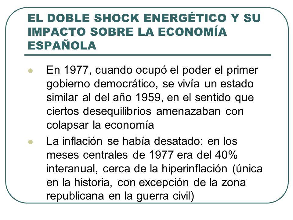 EL DOBLE SHOCK ENERGÉTICO Y SU IMPACTO SOBRE LA ECONOMÍA ESPAÑOLA En 1977, cuando ocupó el poder el primer gobierno democrático, se vivía un estado si