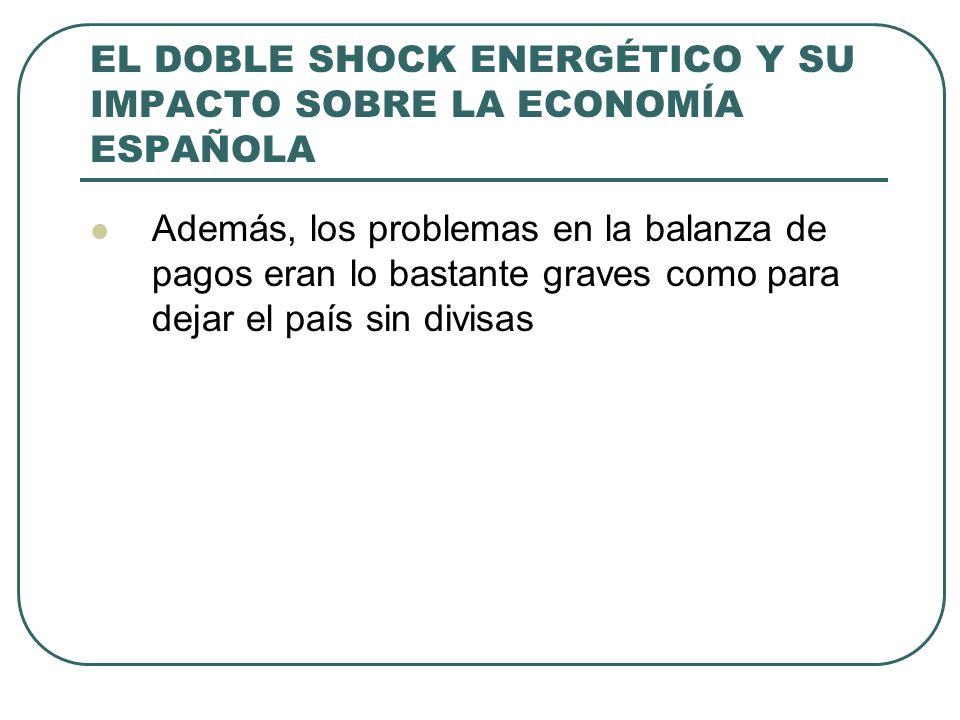 EL DOBLE SHOCK ENERGÉTICO Y SU IMPACTO SOBRE LA ECONOMÍA ESPAÑOLA Además, los problemas en la balanza de pagos eran lo bastante graves como para dejar el país sin divisas