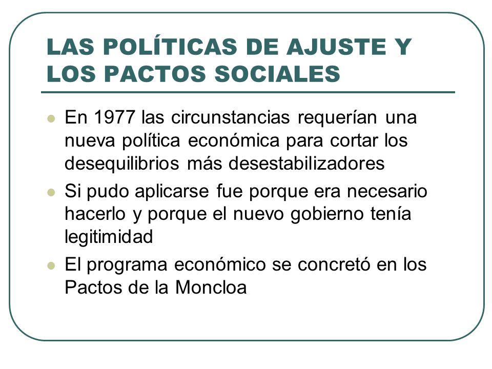 LAS POLÍTICAS DE AJUSTE Y LOS PACTOS SOCIALES En 1977 las circunstancias requerían una nueva política económica para cortar los desequilibrios más desestabilizadores Si pudo aplicarse fue porque era necesario hacerlo y porque el nuevo gobierno tenía legitimidad El programa económico se concretó en los Pactos de la Moncloa