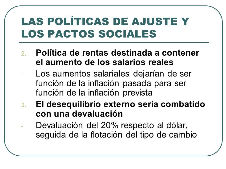 LAS POLÍTICAS DE AJUSTE Y LOS PACTOS SOCIALES 2. Política de rentas destinada a contener el aumento de los salarios reales - Los aumentos salariales d