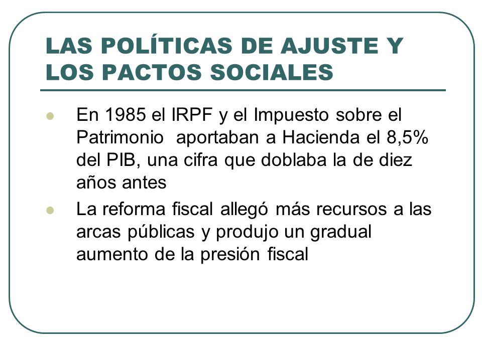 LAS POLÍTICAS DE AJUSTE Y LOS PACTOS SOCIALES En 1985 el IRPF y el Impuesto sobre el Patrimonio aportaban a Hacienda el 8,5% del PIB, una cifra que doblaba la de diez años antes La reforma fiscal allegó más recursos a las arcas públicas y produjo un gradual aumento de la presión fiscal