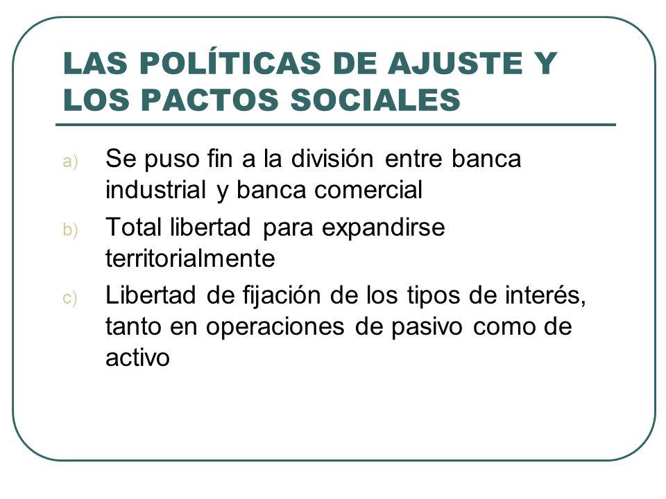 LAS POLÍTICAS DE AJUSTE Y LOS PACTOS SOCIALES a) Se puso fin a la división entre banca industrial y banca comercial b) Total libertad para expandirse