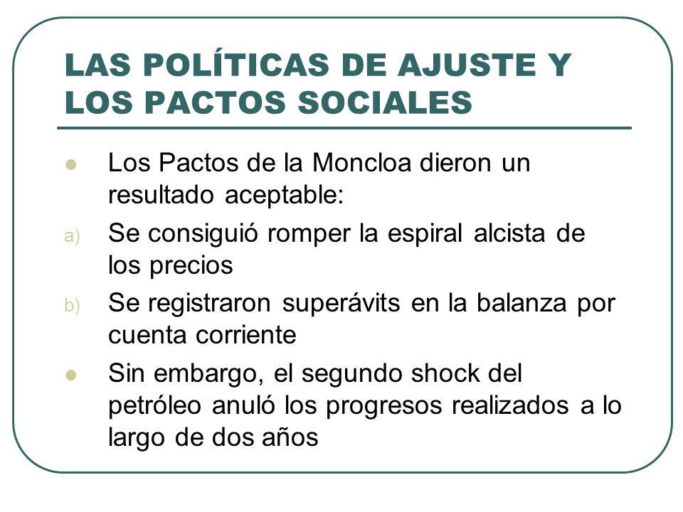 LAS POLÍTICAS DE AJUSTE Y LOS PACTOS SOCIALES Los Pactos de la Moncloa dieron un resultado aceptable: a) Se consiguió romper la espiral alcista de los