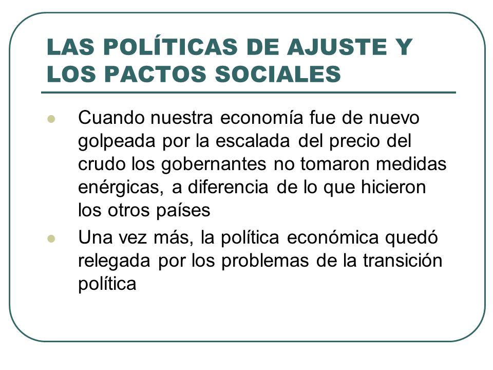 LAS POLÍTICAS DE AJUSTE Y LOS PACTOS SOCIALES Cuando nuestra economía fue de nuevo golpeada por la escalada del precio del crudo los gobernantes no to