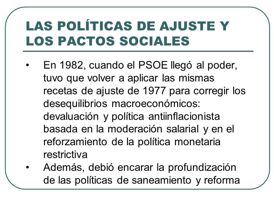 LAS POLÍTICAS DE AJUSTE Y LOS PACTOS SOCIALES En 1982, cuando el PSOE llegó al poder, tuvo que volver a aplicar las mismas recetas de ajuste de 1977 p