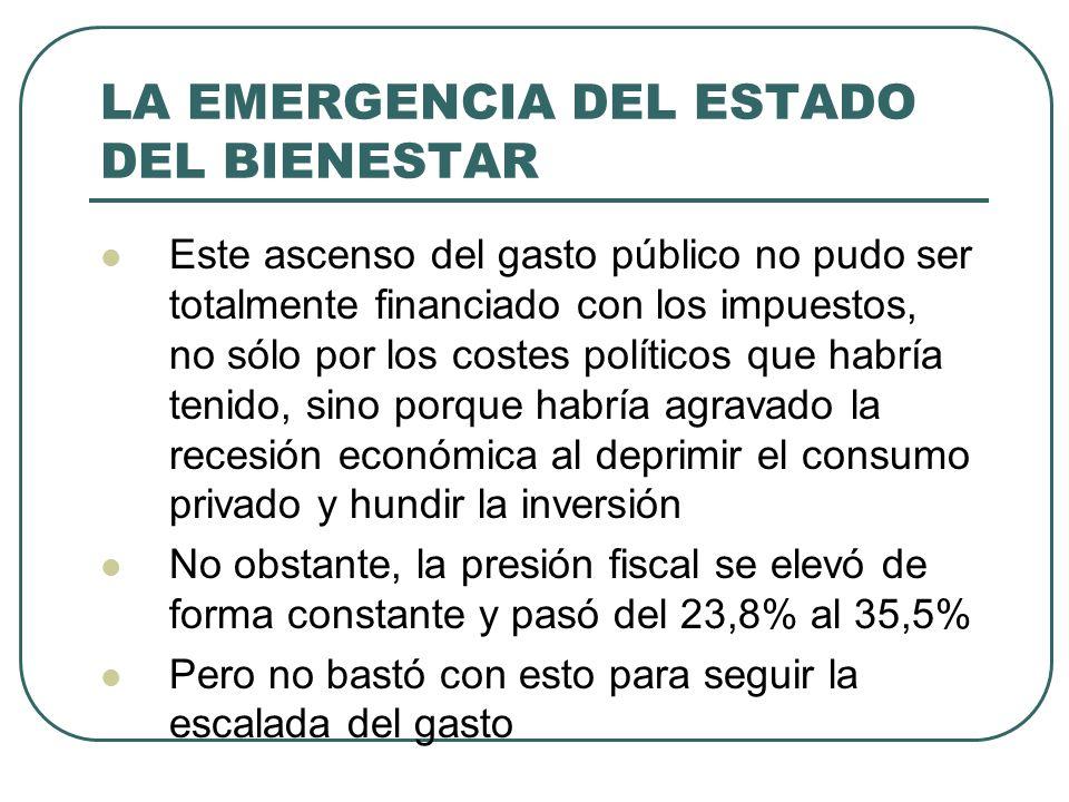 LA EMERGENCIA DEL ESTADO DEL BIENESTAR Este ascenso del gasto público no pudo ser totalmente financiado con los impuestos, no sólo por los costes polí
