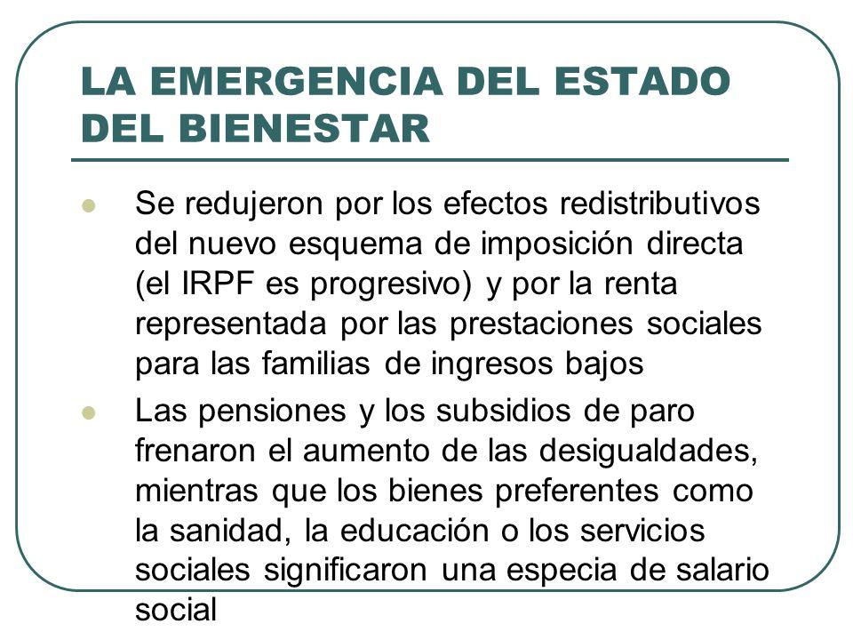 LA EMERGENCIA DEL ESTADO DEL BIENESTAR Se redujeron por los efectos redistributivos del nuevo esquema de imposición directa (el IRPF es progresivo) y