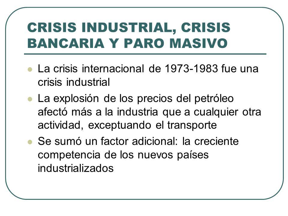 CRISIS INDUSTRIAL, CRISIS BANCARIA Y PARO MASIVO La crisis internacional de 1973-1983 fue una crisis industrial La explosión de los precios del petról