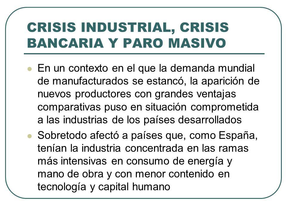 CRISIS INDUSTRIAL, CRISIS BANCARIA Y PARO MASIVO En un contexto en el que la demanda mundial de manufacturados se estancó, la aparición de nuevos prod