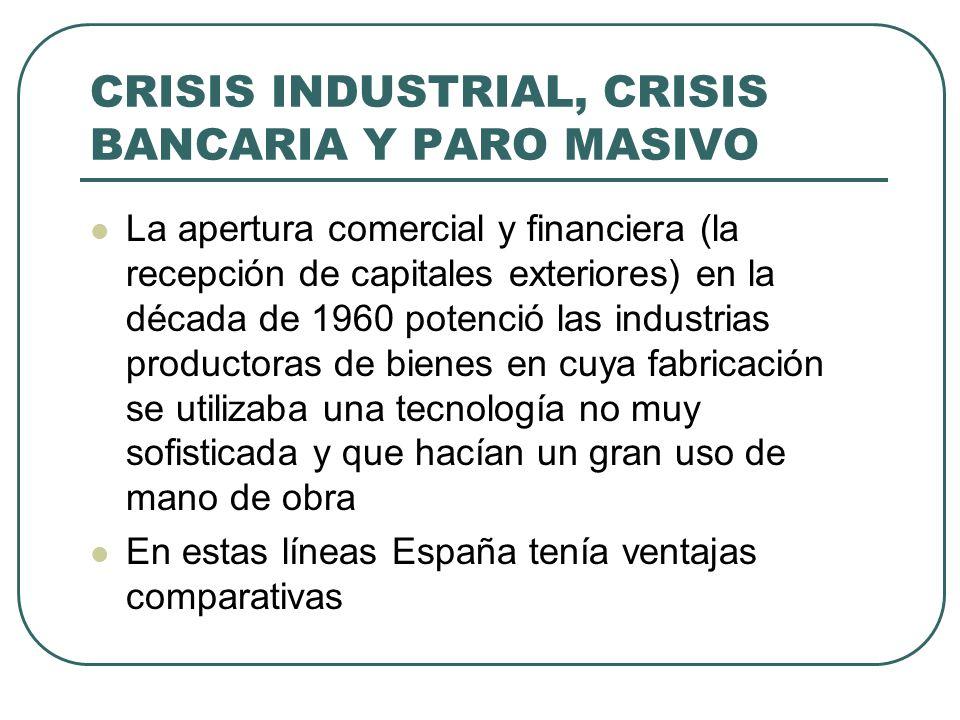 CRISIS INDUSTRIAL, CRISIS BANCARIA Y PARO MASIVO La apertura comercial y financiera (la recepción de capitales exteriores) en la década de 1960 potenc