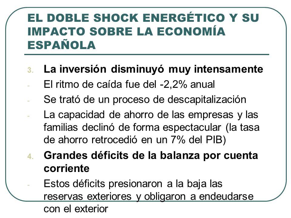 EL DOBLE SHOCK ENERGÉTICO Y SU IMPACTO SOBRE LA ECONOMÍA ESPAÑOLA En 1977, cuando ocupó el poder el primer gobierno democrático, se vivía un estado similar al del año 1959, en el sentido que ciertos desequilibrios amenazaban con colapsar la economía La inflación se había desatado: en los meses centrales de 1977 era del 40% interanual, cerca de la hiperinflación (única en la historia, con excepción de la zona republicana en la guerra civil)