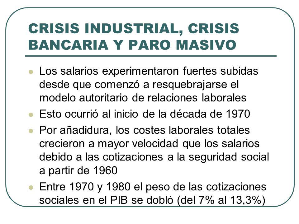 CRISIS INDUSTRIAL, CRISIS BANCARIA Y PARO MASIVO Los salarios experimentaron fuertes subidas desde que comenzó a resquebrajarse el modelo autoritario de relaciones laborales Esto ocurrió al inicio de la década de 1970 Por añadidura, los costes laborales totales crecieron a mayor velocidad que los salarios debido a las cotizaciones a la seguridad social a partir de 1960 Entre 1970 y 1980 el peso de las cotizaciones sociales en el PIB se dobló (del 7% al 13,3%)