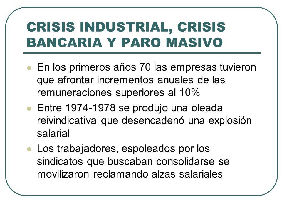 CRISIS INDUSTRIAL, CRISIS BANCARIA Y PARO MASIVO En los primeros años 70 las empresas tuvieron que afrontar incrementos anuales de las remuneraciones