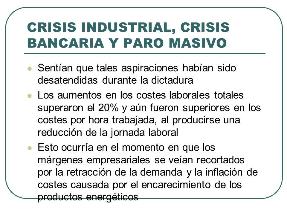 CRISIS INDUSTRIAL, CRISIS BANCARIA Y PARO MASIVO Sentían que tales aspiraciones habían sido desatendidas durante la dictadura Los aumentos en los cost