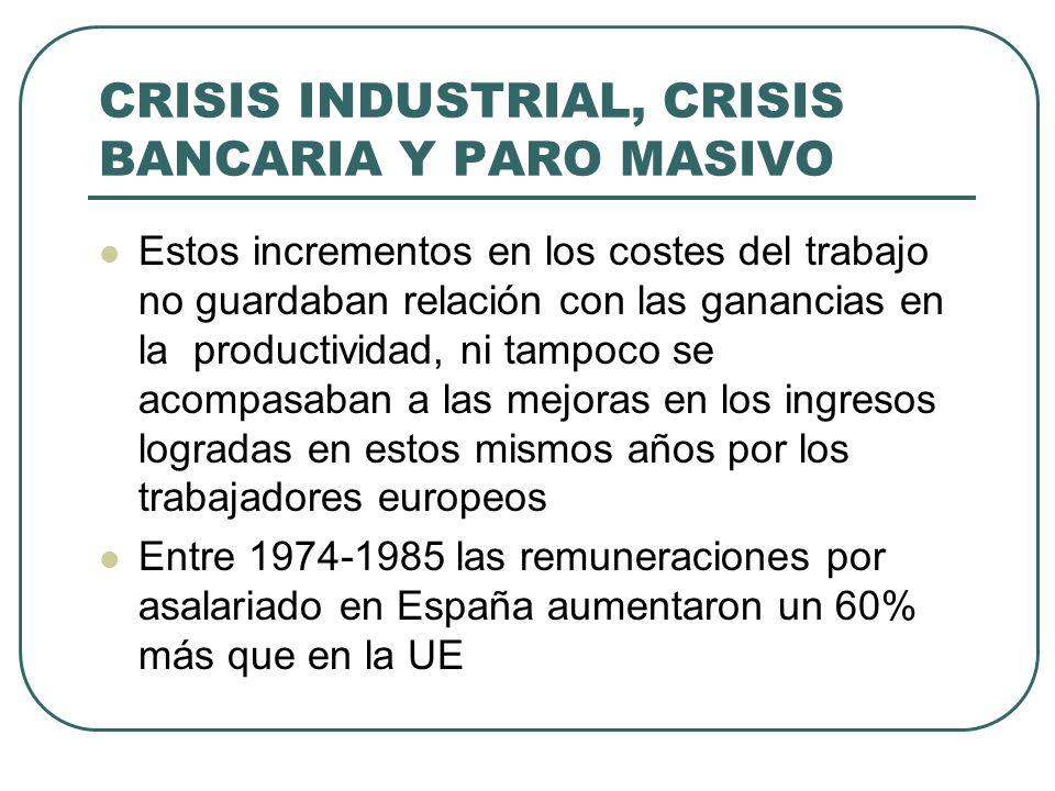 CRISIS INDUSTRIAL, CRISIS BANCARIA Y PARO MASIVO Estos incrementos en los costes del trabajo no guardaban relación con las ganancias en la productivid