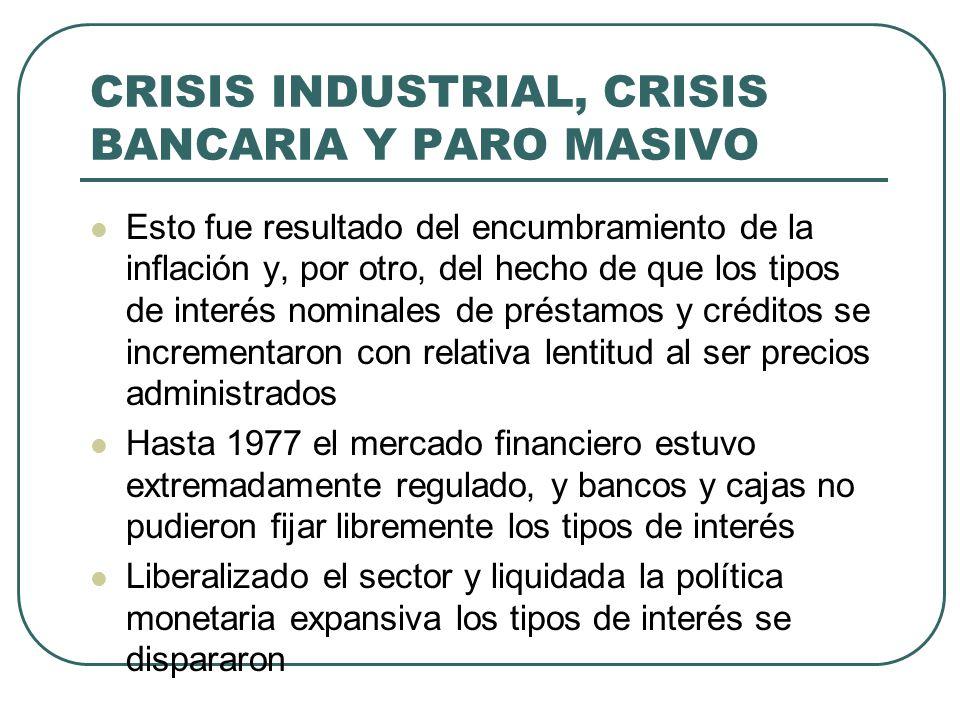 CRISIS INDUSTRIAL, CRISIS BANCARIA Y PARO MASIVO Esto fue resultado del encumbramiento de la inflación y, por otro, del hecho de que los tipos de interés nominales de préstamos y créditos se incrementaron con relativa lentitud al ser precios administrados Hasta 1977 el mercado financiero estuvo extremadamente regulado, y bancos y cajas no pudieron fijar libremente los tipos de interés Liberalizado el sector y liquidada la política monetaria expansiva los tipos de interés se dispararon