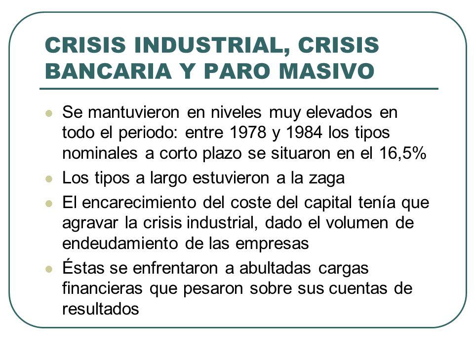 CRISIS INDUSTRIAL, CRISIS BANCARIA Y PARO MASIVO Se mantuvieron en niveles muy elevados en todo el periodo: entre 1978 y 1984 los tipos nominales a co