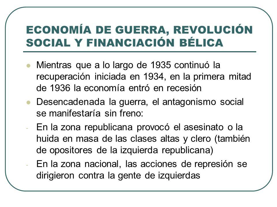 ECONOMÍA DE GUERRA, REVOLUCIÓN SOCIAL Y FINANCIACIÓN BÉLICA Mientras que a lo largo de 1935 continuó la recuperación iniciada en 1934, en la primera mitad de 1936 la economía entró en recesión Desencadenada la guerra, el antagonismo social se manifestaría sin freno: - En la zona republicana provocó el asesinato o la huida en masa de las clases altas y clero (también de opositores de la izquierda republicana) - En la zona nacional, las acciones de represión se dirigieron contra la gente de izquierdas