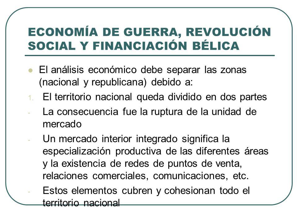 ECONOMÍA DE GUERRA, REVOLUCIÓN SOCIAL Y FINANCIACIÓN BÉLICA El análisis económico debe separar las zonas (nacional y republicana) debido a: 1.