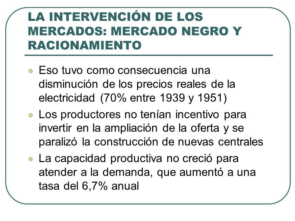 LA INTERVENCIÓN DE LOS MERCADOS: MERCADO NEGRO Y RACIONAMIENTO Eso tuvo como consecuencia una disminución de los precios reales de la electricidad (70% entre 1939 y 1951) Los productores no tenían incentivo para invertir en la ampliación de la oferta y se paralizó la construcción de nuevas centrales La capacidad productiva no creció para atender a la demanda, que aumentó a una tasa del 6,7% anual