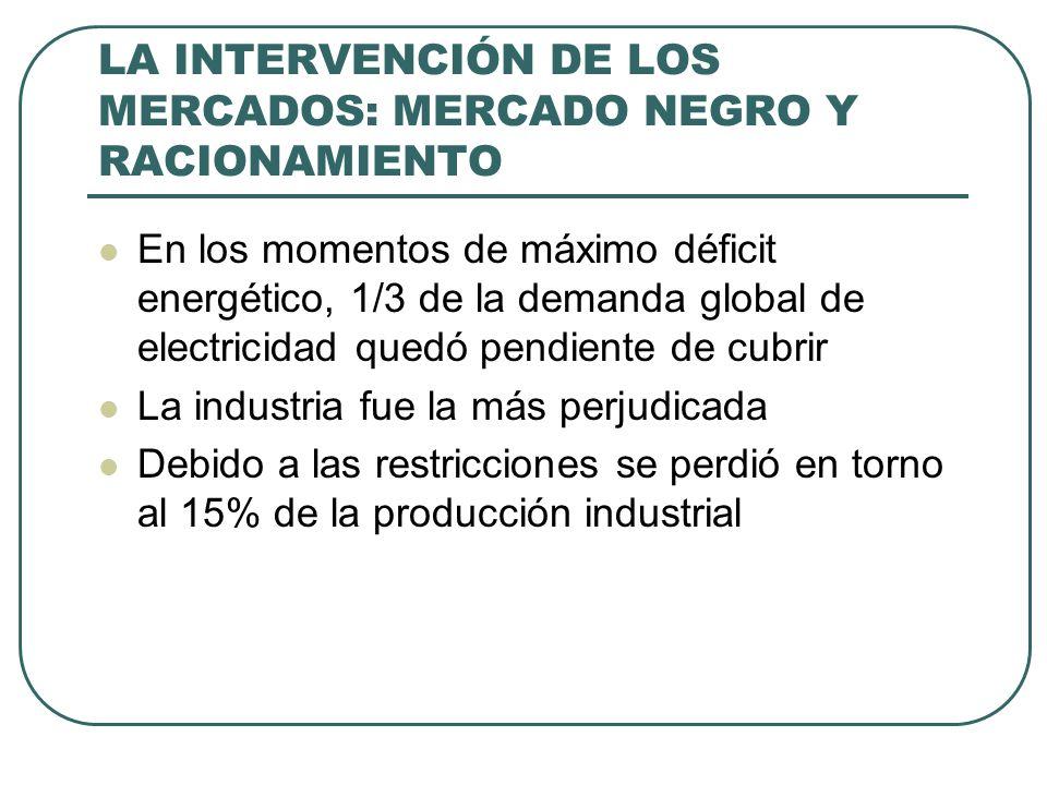 LA INTERVENCIÓN DE LOS MERCADOS: MERCADO NEGRO Y RACIONAMIENTO En los momentos de máximo déficit energético, 1/3 de la demanda global de electricidad quedó pendiente de cubrir La industria fue la más perjudicada Debido a las restricciones se perdió en torno al 15% de la producción industrial