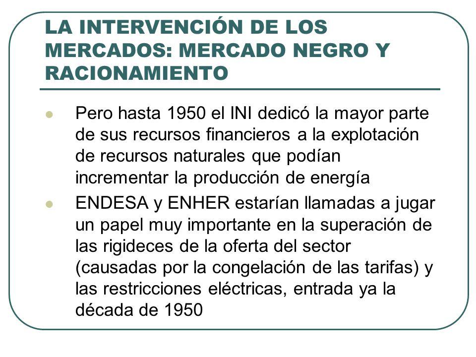 LA INTERVENCIÓN DE LOS MERCADOS: MERCADO NEGRO Y RACIONAMIENTO Pero hasta 1950 el INI dedicó la mayor parte de sus recursos financieros a la explotación de recursos naturales que podían incrementar la producción de energía ENDESA y ENHER estarían llamadas a jugar un papel muy importante en la superación de las rigideces de la oferta del sector (causadas por la congelación de las tarifas) y las restricciones eléctricas, entrada ya la década de 1950