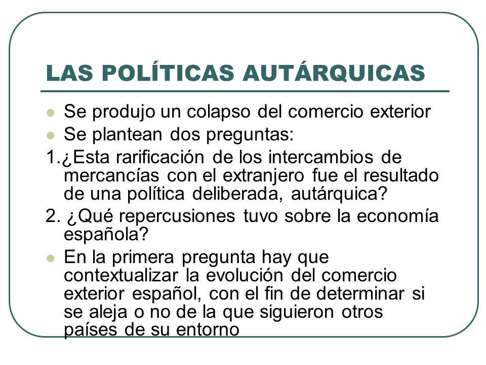 LAS POLÍTICAS AUTÁRQUICAS Se produjo un colapso del comercio exterior Se plantean dos preguntas: 1.¿Esta rarificación de los intercambios de mercancías con el extranjero fue el resultado de una política deliberada, autárquica.