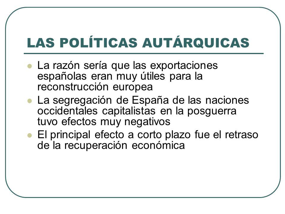 LAS POLÍTICAS AUTÁRQUICAS La razón sería que las exportaciones españolas eran muy útiles para la reconstrucción europea La segregación de España de las naciones occidentales capitalistas en la posguerra tuvo efectos muy negativos El principal efecto a corto plazo fue el retraso de la recuperación económica