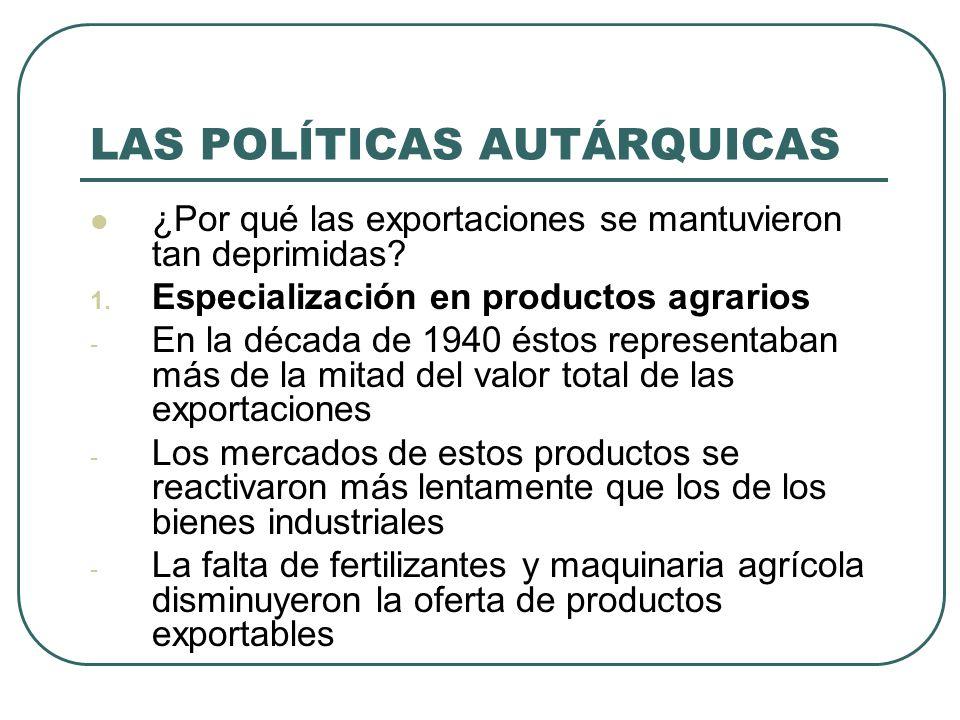 LAS POLÍTICAS AUTÁRQUICAS ¿Por qué las exportaciones se mantuvieron tan deprimidas.