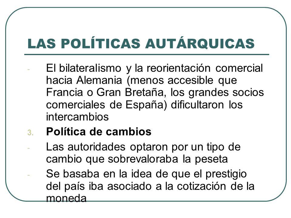 LAS POLÍTICAS AUTÁRQUICAS - El bilateralismo y la reorientación comercial hacia Alemania (menos accesible que Francia o Gran Bretaña, los grandes socios comerciales de España) dificultaron los intercambios 3.