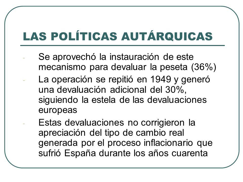 LAS POLÍTICAS AUTÁRQUICAS - Se aprovechó la instauración de este mecanismo para devaluar la peseta (36%) - La operación se repitió en 1949 y generó una devaluación adicional del 30%, siguiendo la estela de las devaluaciones europeas - Estas devaluaciones no corrigieron la apreciación del tipo de cambio real generada por el proceso inflacionario que sufrió España durante los años cuarenta