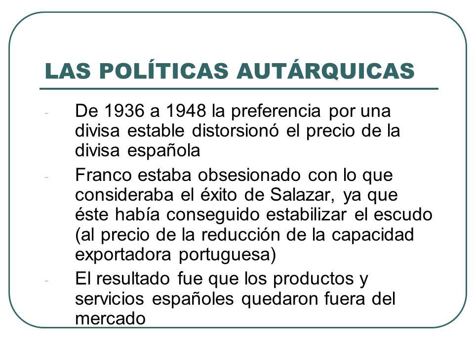 LAS POLÍTICAS AUTÁRQUICAS - De 1936 a 1948 la preferencia por una divisa estable distorsionó el precio de la divisa española - Franco estaba obsesionado con lo que consideraba el éxito de Salazar, ya que éste había conseguido estabilizar el escudo (al precio de la reducción de la capacidad exportadora portuguesa) - El resultado fue que los productos y servicios españoles quedaron fuera del mercado