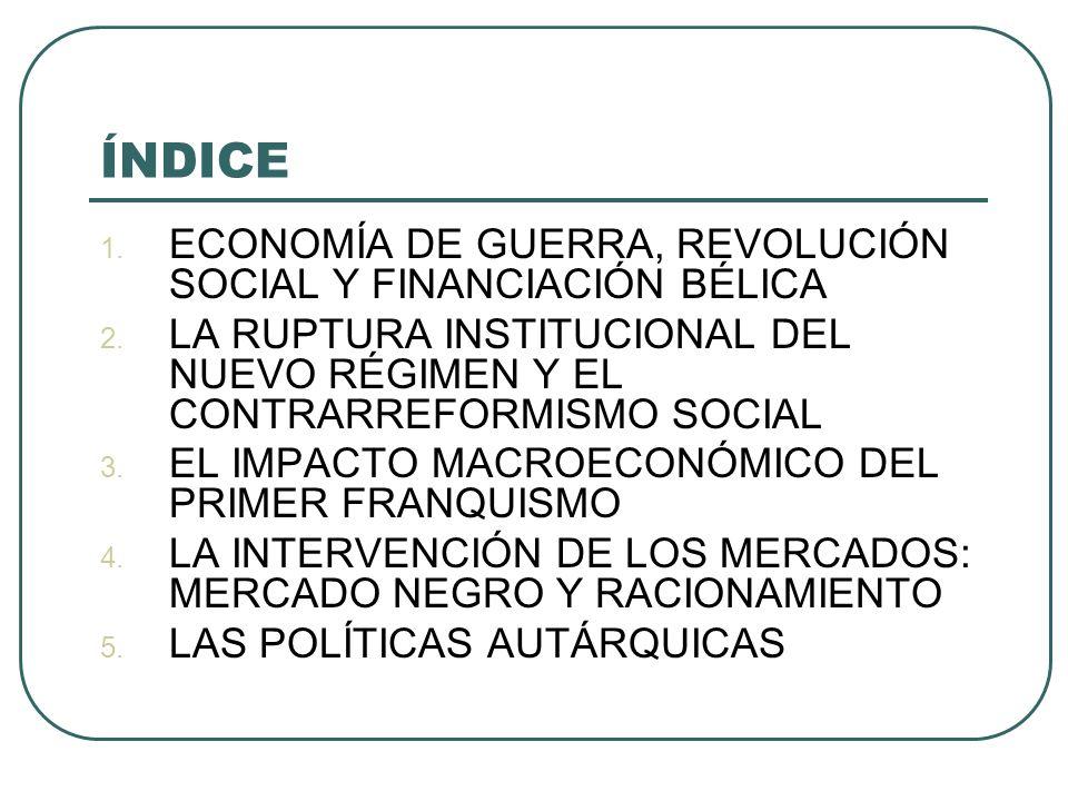 ÍNDICE 1.ECONOMÍA DE GUERRA, REVOLUCIÓN SOCIAL Y FINANCIACIÓN BÉLICA 2.