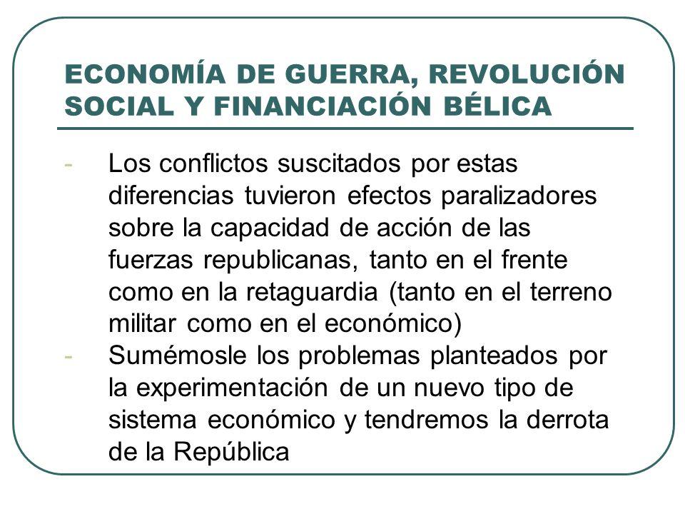 ECONOMÍA DE GUERRA, REVOLUCIÓN SOCIAL Y FINANCIACIÓN BÉLICA -Los conflictos suscitados por estas diferencias tuvieron efectos paralizadores sobre la capacidad de acción de las fuerzas republicanas, tanto en el frente como en la retaguardia (tanto en el terreno militar como en el económico) -Sumémosle los problemas planteados por la experimentación de un nuevo tipo de sistema económico y tendremos la derrota de la República