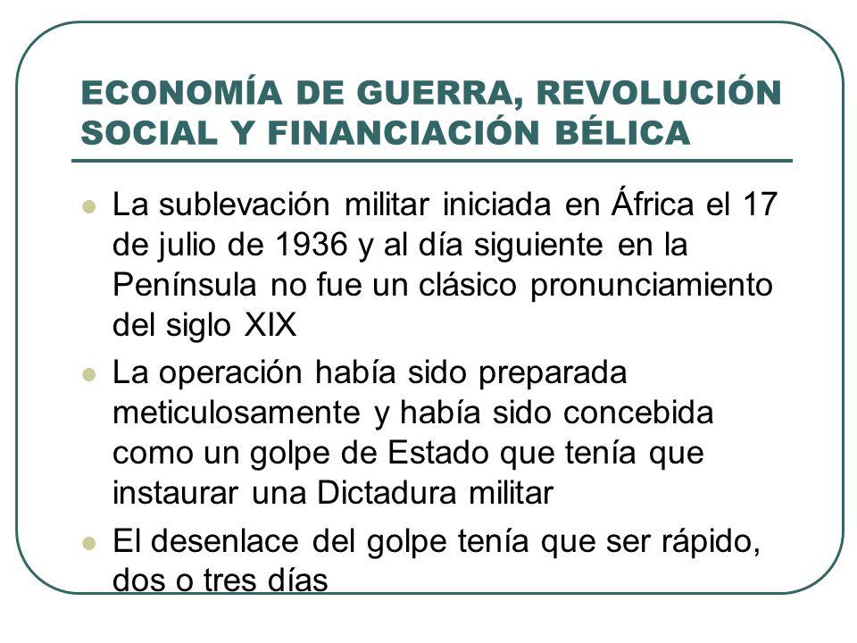 ECONOMÍA DE GUERRA, REVOLUCIÓN SOCIAL Y FINANCIACIÓN BÉLICA La realidad fue distinta porque en las principales ciudades y zonas industriales las organizaciones obreras se movilizaron y, sumadas a las fuerzas armadas no sublevadas, vencieron a los rebeldes La sublevación triunfó en una amplia zona (de Navarra a La Coruña y de Teruel a Cáceres) Esto supuso la ruptura en dos del territorio controlado por la República