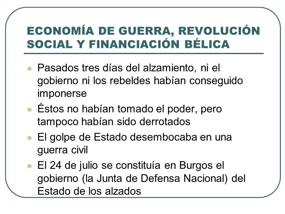 ECONOMÍA DE GUERRA, REVOLUCIÓN SOCIAL Y FINANCIACIÓN BÉLICA Pasados tres días del alzamiento, ni el gobierno ni los rebeldes habían conseguido imponerse Éstos no habían tomado el poder, pero tampoco habían sido derrotados El golpe de Estado desembocaba en una guerra civil El 24 de julio se constituía en Burgos el gobierno (la Junta de Defensa Nacional) del Estado de los alzados