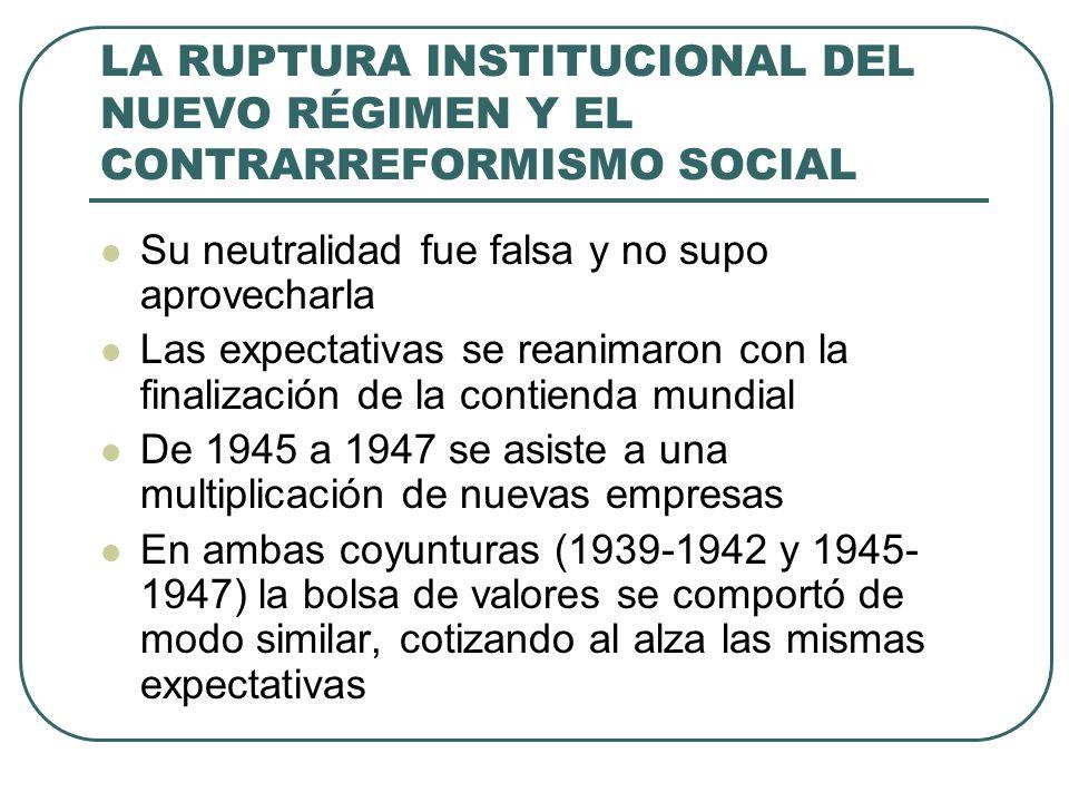 LA RUPTURA INSTITUCIONAL DEL NUEVO RÉGIMEN Y EL CONTRARREFORMISMO SOCIAL Su neutralidad fue falsa y no supo aprovecharla Las expectativas se reanimaron con la finalización de la contienda mundial De 1945 a 1947 se asiste a una multiplicación de nuevas empresas En ambas coyunturas (1939-1942 y 1945- 1947) la bolsa de valores se comportó de modo similar, cotizando al alza las mismas expectativas