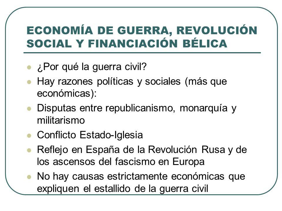 ECONOMÍA DE GUERRA, REVOLUCIÓN SOCIAL Y FINANCIACIÓN BÉLICA ¿Por qué la guerra civil.