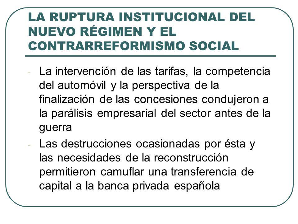 LA RUPTURA INSTITUCIONAL DEL NUEVO RÉGIMEN Y EL CONTRARREFORMISMO SOCIAL - La intervención de las tarifas, la competencia del automóvil y la perspectiva de la finalización de las concesiones condujeron a la parálisis empresarial del sector antes de la guerra - Las destrucciones ocasionadas por ésta y las necesidades de la reconstrucción permitieron camuflar una transferencia de capital a la banca privada española