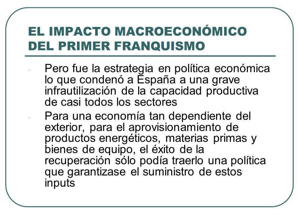 EL IMPACTO MACROECONÓMICO DEL PRIMER FRANQUISMO - Pero fue la estrategia en política económica lo que condenó a España a una grave infrautilización de la capacidad productiva de casi todos los sectores - Para una economía tan dependiente del exterior, para el aprovisionamiento de productos energéticos, materias primas y bienes de equipo, el éxito de la recuperación sólo podía traerlo una política que garantizase el suministro de estos inputs