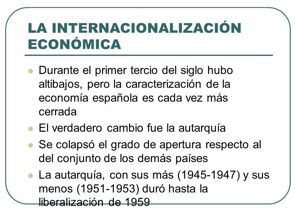 LA INTERNACIONALIZACIÓN ECONÓMICA Durante el primer tercio del siglo hubo altibajos, pero la caracterización de la economía española es cada vez más c