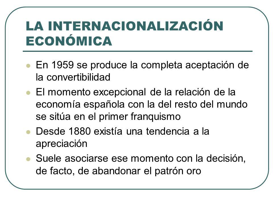 LA INTERNACIONALIZACIÓN ECONÓMICA En 1959 se produce la completa aceptación de la convertibilidad El momento excepcional de la relación de la economía