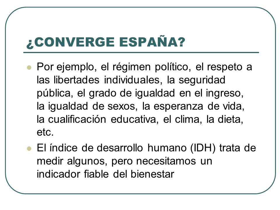 ¿CONVERGE ESPAÑA? Por ejemplo, el régimen político, el respeto a las libertades individuales, la seguridad pública, el grado de igualdad en el ingreso