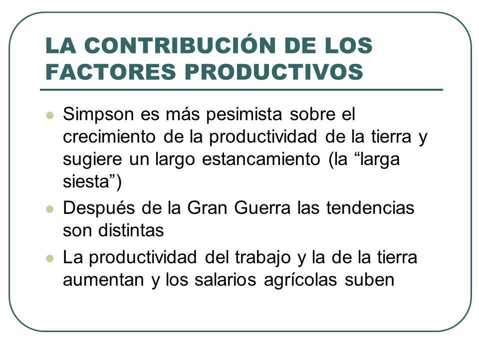 LA CONTRIBUCIÓN DE LOS FACTORES PRODUCTIVOS Simpson es más pesimista sobre el crecimiento de la productividad de la tierra y sugiere un largo estancam