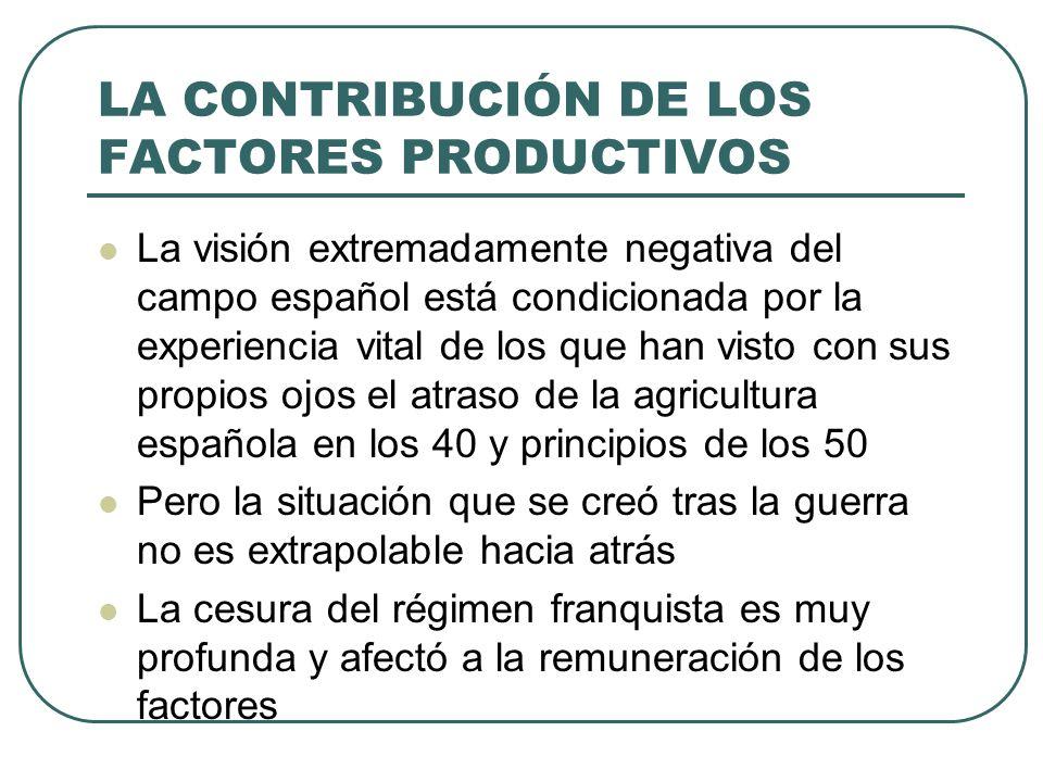 LA CONTRIBUCIÓN DE LOS FACTORES PRODUCTIVOS La visión extremadamente negativa del campo español está condicionada por la experiencia vital de los que
