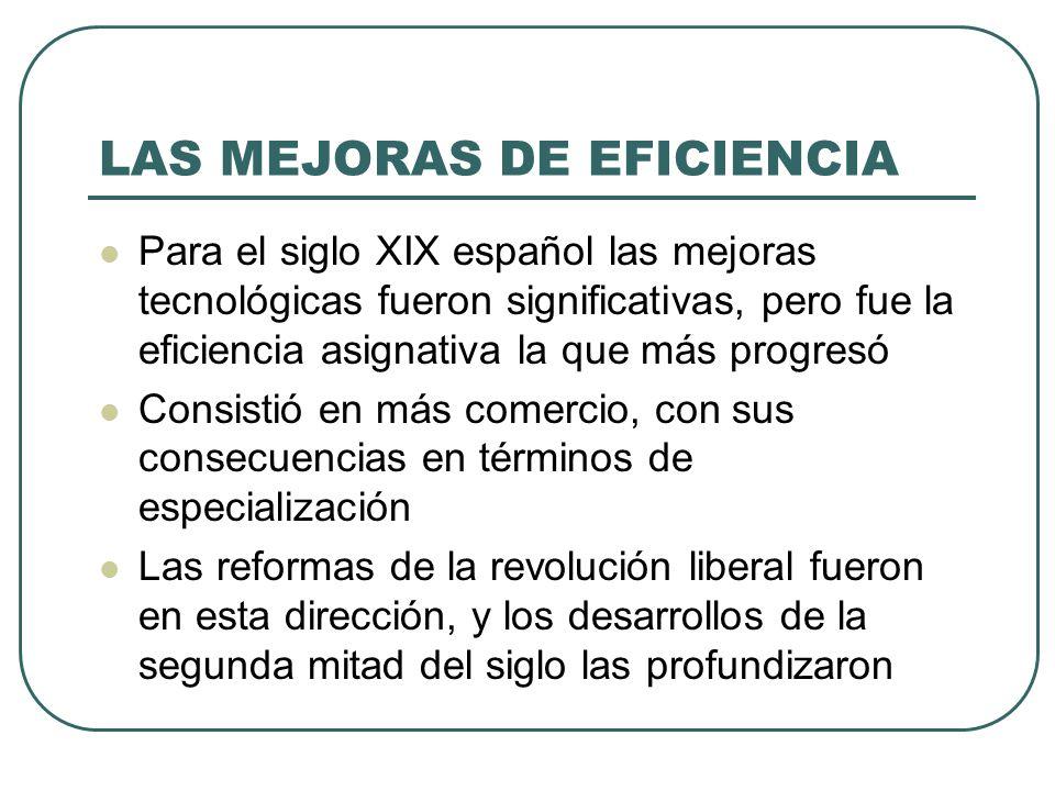LAS MEJORAS DE EFICIENCIA Para el siglo XIX español las mejoras tecnológicas fueron significativas, pero fue la eficiencia asignativa la que más progr
